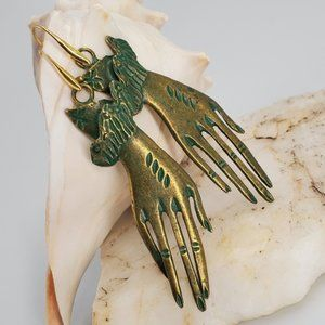 Antro Earrings Antique Gold Hand